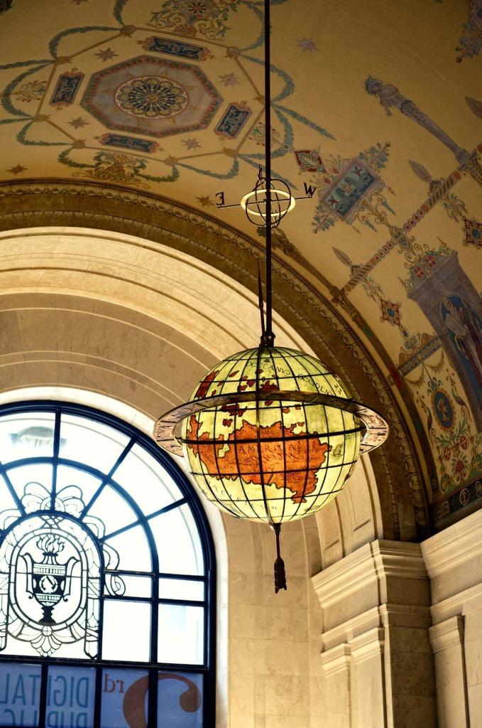 lobby of cleveland public library, wedding photography, engagement photos